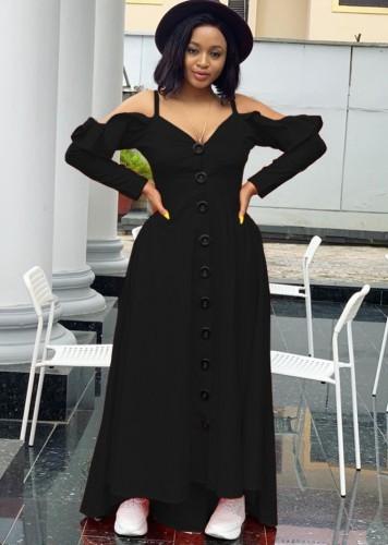 Herfst sexy zwarte gegolfde schouderbandjes lange mouw maxi-jurk