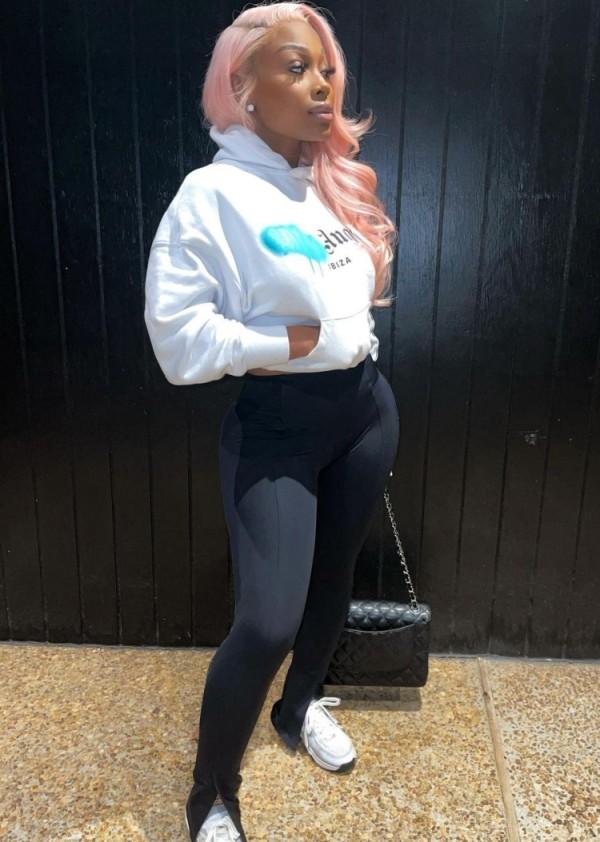 Herbst Sportliche weiße Print Hoodies und Skinny Pants Trainingsanzug