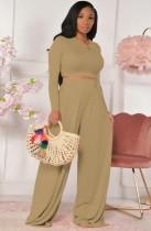 Fall Fashion Khaki Slim Manga larga con cuello redondo Crop Top y conjunto de pantalones anchos a juego
