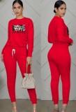Otoño Casual Deportes Rojo Dibujos animados Impreso Fruncido Blusa y pantalones Dtrawstring a juego Conjunto de dos piezas