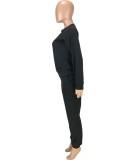 Otoño negro Casual Sports manga larga suelta traje de dos piezas