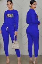 Fall Casual Sports Blue Cartoon Printed Ruched Bloused And Matching Dtrawstring Pants Two Piece Set