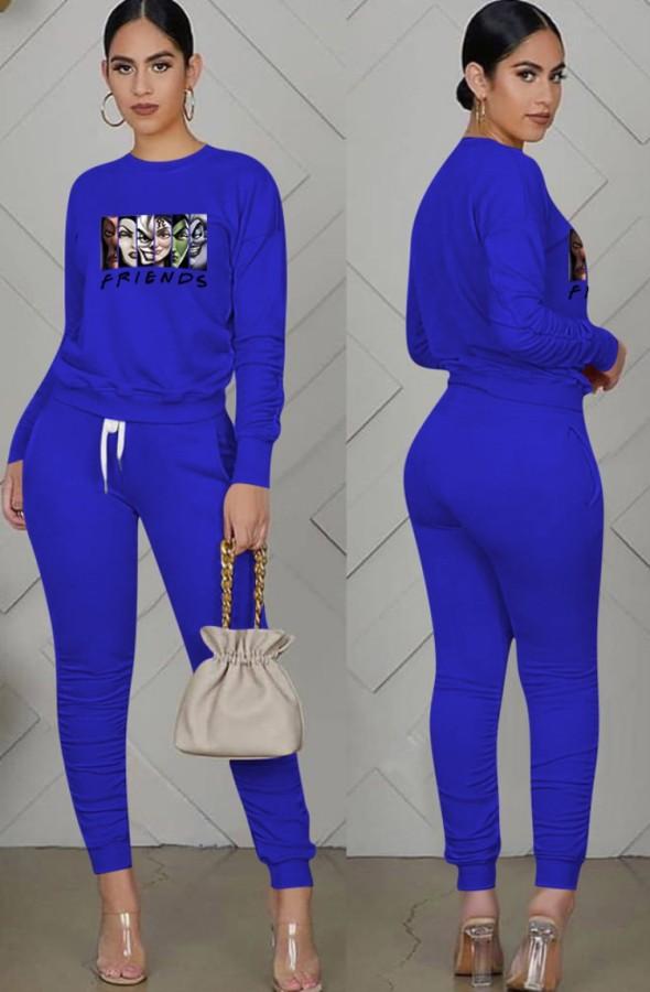 Otoño Casual Deportes Azul Dibujos animados Impreso Fruncido Blusa y pantalones Dtrawstring a juego Conjunto de dos piezas