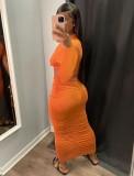 Otoño sexy naranja cuello redondo recortado manga larga fruncido vestido largo delgado
