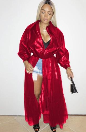 Herfstmode rode mesh patchwork kraag met lange mouwen pu leren jas