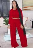 Otoño moda rojo delgado manga larga cuello redondo crop top y conjunto de pantalones anchos a juego