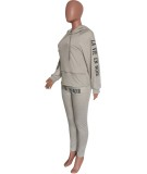 Fall Causal gris sudaderas con capucha de manga larga con estampado de letras y pantalón de chándal