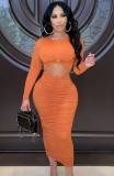 Herbst Sexy Orange Rundhalsausschnitt Langarm Gerafftes Schlankes Langes Kleid