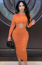 Fall Sexy Orange Round Neck Cut Out Long Sleeve Ruched Slim Long Dress