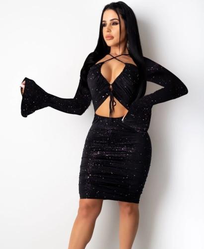 Herfst sexy zwarte pailletten uitgeholde bodycon-jurk met lange mouwen