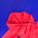 Vestido maxi de manga larga con hombros descubiertos y volantes rojo sexy de otoño