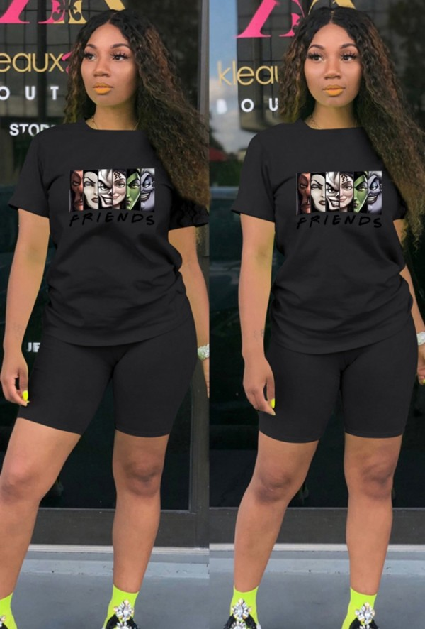 Summer Casual Sports Black Cartoon Printed T-Shirt And Matching Shorts Two Piece Set