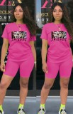 Summer Casual Sports Pink Cartoon Printed T-Shirt And Matching Shorts Two Piece Set