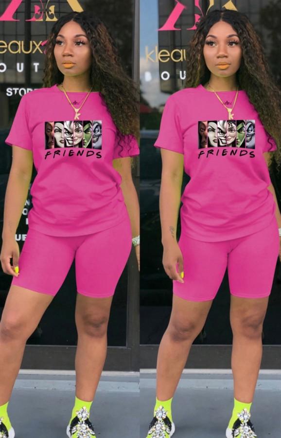 Summer Casual Sports Pink Cartoon camiseta estampada y pantalones cortos a juego Conjunto de dos piezas