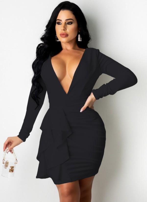 Vestido ajustado con pliegues fruncidos y volantes de manga larga con cuello en V negro sexy de otoño
