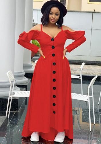 Herfst sexy rode gegolfde schouderbanden lange mouw maxi-jurk