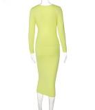 Vestido largo con cordones de manga larga con corte amarillo sexy de otoño