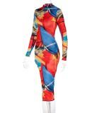 Vestido largo con abertura de manga larga y cuello alto con estampado colorido de moda de otoño