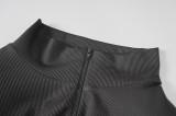 Mini vestido de manga larga con cuello alto y cremallera negra sexy de otoño