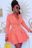 Vestido blazer plisado de manga larga con cuello vuelto cruzado rosa de moda de otoño