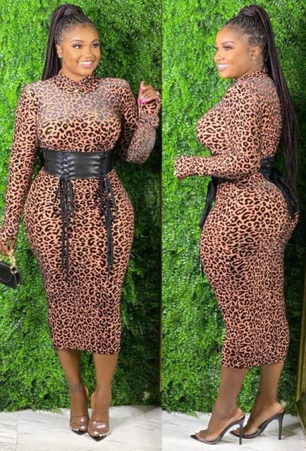 Herbst Sexy Leopardenmuster Langarm Midikleid Ohne Gürtel