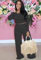 Otoño moda negro delgado manga larga cuello redondo crop top y conjunto de pantalones anchos a juego