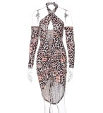 Vestido ajustado con cordones y manga larga con estampado de leopardo sexy de otoño