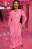 Herbst Sexy Pink Stripes Durchsichtig Langarm Rundhals Schlankes Langes Kleid
