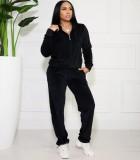 Fall Causal sudaderas con capucha de manga larga y pantalón de chándal negro
