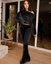 Sonbahar Nedensel Siyah Solid Uzun Kollu Kısa Üst ve Pantolon Takımı