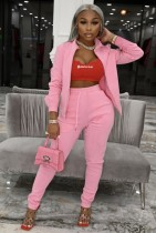 Herbst-Causal Pink Langarm-Trainingsanzug mit Reißverschluss und offenem Oberteil und Hose
