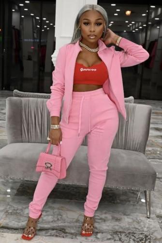 Tuta sportiva e pantalone con apertura a cerniera a maniche lunghe rosa causale autunnale