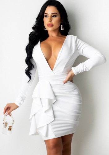 Fall Sexy White Plunge V-Neck Long Sleeve Ruffled Ruched Bodycon Dress