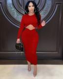 Herbst Sexy Rot Rundhalsausschnitt Langarm Gerafftes Schlankes Langes Kleid