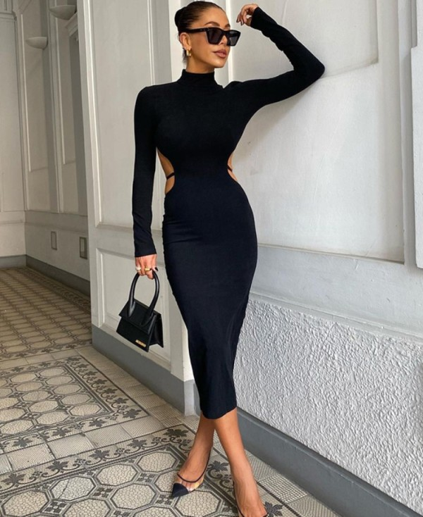 Herbst Sexy Schwarzes Langarm-langes Kleid mit Cut-Outs