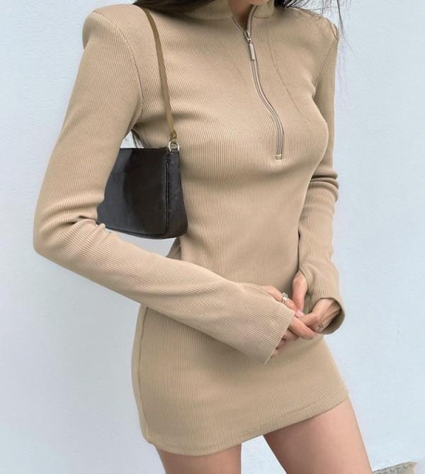 Herbst Sexy Kahaki Reißverschluss Stehkragen Langarm Minikleid