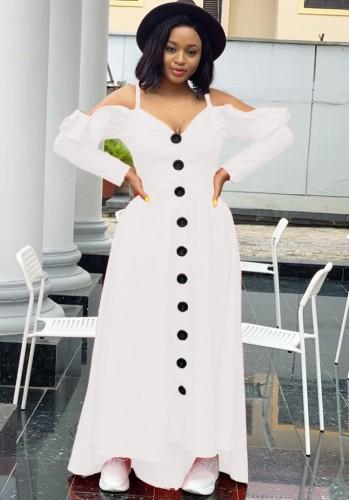 Herfst sexy witte gegolfde schouderbanden lange mouw maxi-jurk