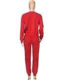 Otoño rojo casual deportes manga larga suelta traje de dos piezas