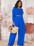 Fall Fashion Blue Slim Manga larga Cuello redondo Crop Top y Conjunto de pantalones anchos a juego