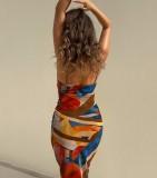 Sommermode bunter Druck schulterfrei ärmelloses langes Kleid