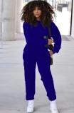 Otoño azul casual deportes manga larga suelta traje de dos piezas