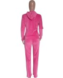 Fall Causal sudadera con capucha rosa de manga larga y pantalón de chándal