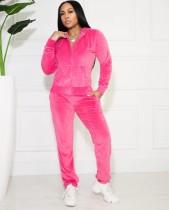 Felpa con cappuccio a maniche lunghe rosa causale autunnale Tuta da ginnastica e pantalone