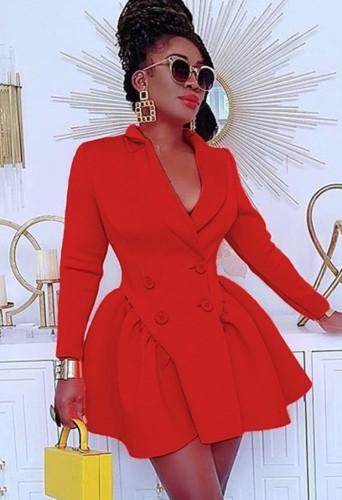 秋のファッションレッドダブルブレストターンダウンカラー長袖プリーツブレザードレス
