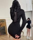 Herbst kausales schwarzes, langärmliges, figurbetontes Kleid mit Kapuze