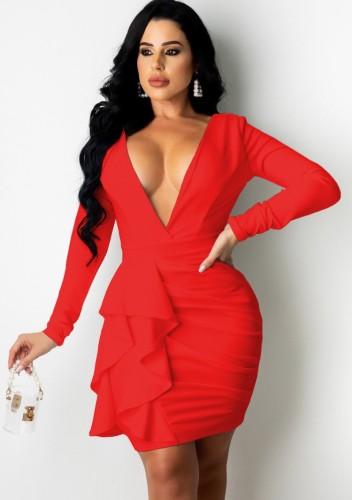 Herfst sexy rode duik V-hals lange mouwen gegolfde ruches bodycon jurk