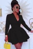 Otoño moda negro cruzado cuello vuelto manga larga blazer plisado vestido