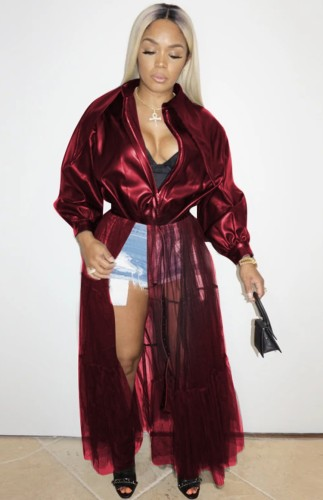 Fall Fashion Bourgondië Mesh Patchwork Turndown Kraag Lange Mouw Pu Leren Jas