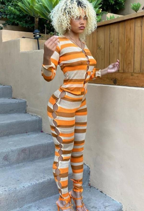 Set di pantaloni e top a maniche lunghe a righe arancioni sexy autunnali