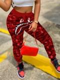 Pantalones deportivos casuales de otoño con cordón de cintura alta de camuflaje rojo